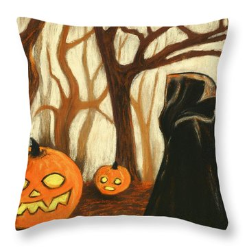 Throw Pillow featuring the painting Halloween Forest by Anastasiya Malakhova