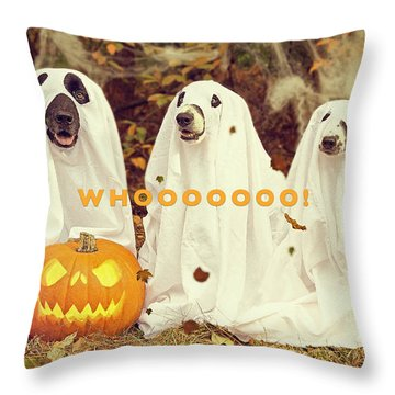 Throw Pillow featuring the photograph Halloween Hounds by ISAW Company