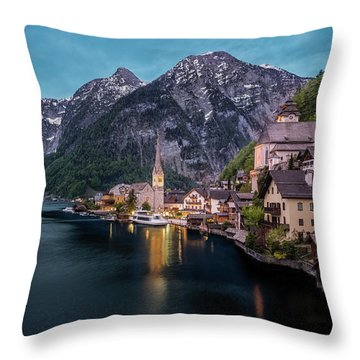 Hallstatt Village At Dusk, Austria Throw Pillow