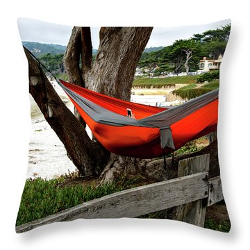 Hammock By The Sea Throw Pillow