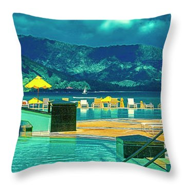 Throw Pillow featuring the photograph Hanalei Bay Bali Hai Hawaii by Tom Jelen