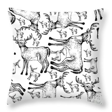 Hand Drawn Background Of Autumn Whitetail Deers Throw Pillow