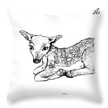 Hand Drawn Of Autumn Fawn Deer On White Background Throw Pillow