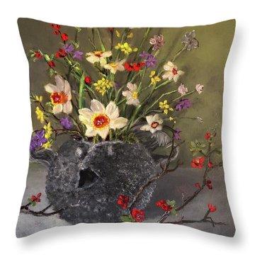 Handbuilt Pufferfish Teapot With Spring Flowers Throw Pillow