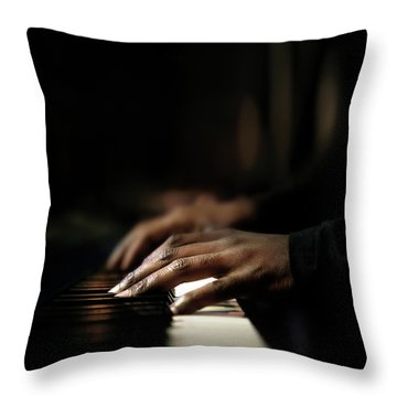 Hands Playing Piano Close-up Throw Pillow