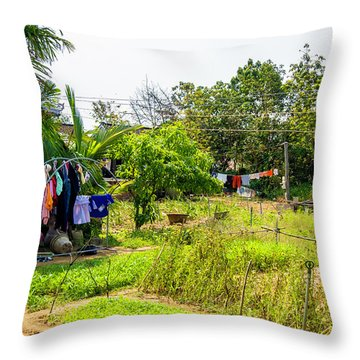 Hanging Out To Dry In Vietnam Throw Pillow