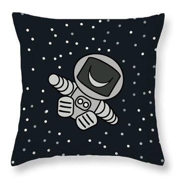 Happy Astronaut Throw Pillow