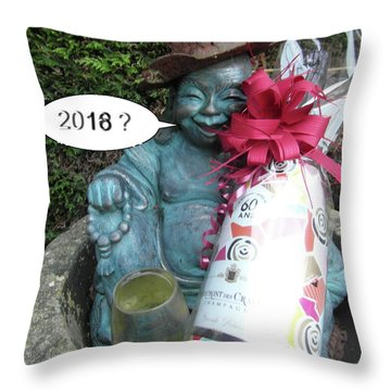 Throw Pillow featuring the painting Christmas Wishes To Everyone by Val Byrne