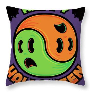 Happy Halloween Ghost Yin-yang Throw Pillow