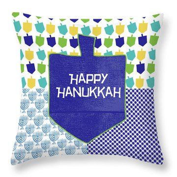 Happy Hanukkah Dreidel 2- Art By Linda Woods Throw Pillow