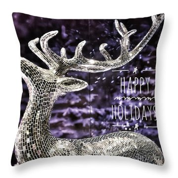 Happy Holiday Sparkle Throw Pillow