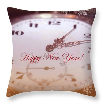 Happy New Year With Decorative And Nostalgic Theme. Throw Pillow