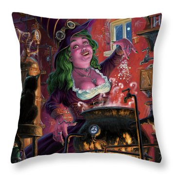 Happy Steam Punk Witch Throw Pillow
