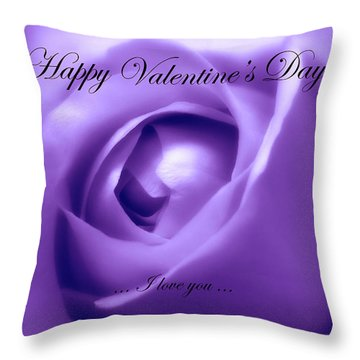 Throw Pillow featuring the photograph Happy Valentines Day With Soft Purple Rose by Johanna Hurmerinta