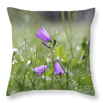 Harebells And Water Drops Throw Pillow