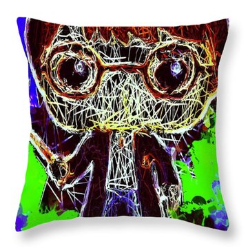Throw Pillow featuring the mixed media Harry Potter Pop by Al Matra