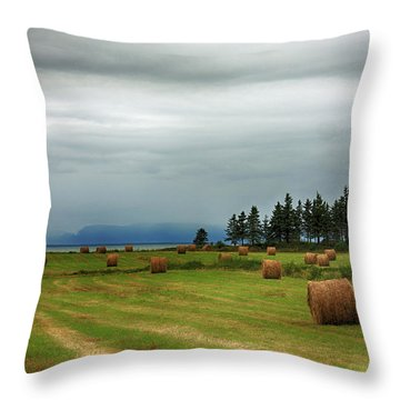 Throw Pillow featuring the photograph Harvest Time In Canada by Tatiana Travelways