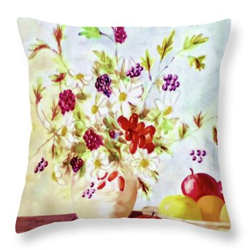 Harvest Time-still Life Painting By V.kelly Throw Pillow
