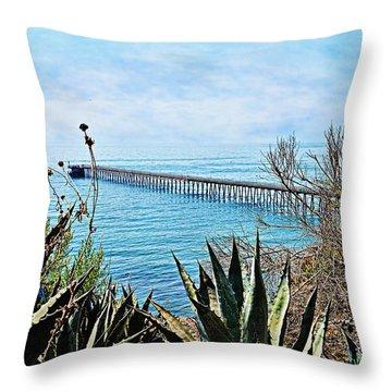 Haskell Beach Pier Throw Pillow
