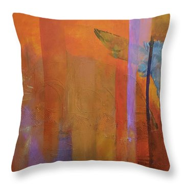 Throw Pillow featuring the painting Hawk Over The Desert by Jillian Goldberg