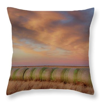 Hay Bales On The High Plains Throw Pillow