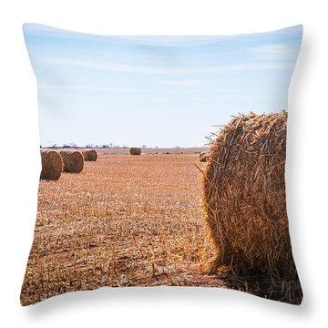 Hay Rolls Throw Pillow