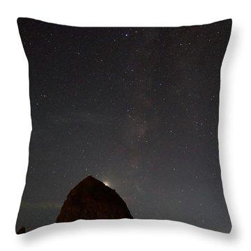 Haystack Night Under The Stars Throw Pillow