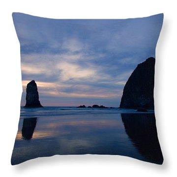 Haystack Rock At Dusk Throw Pillow