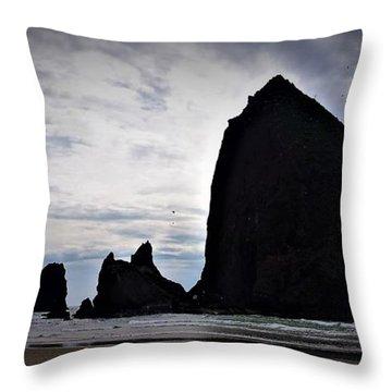 Haystack Rock Canon Beach Throw Pillow