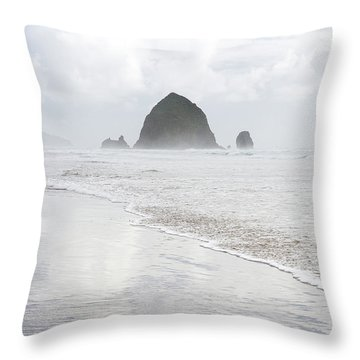 Throw Pillow featuring the photograph Haystack Rock by Tim Newton