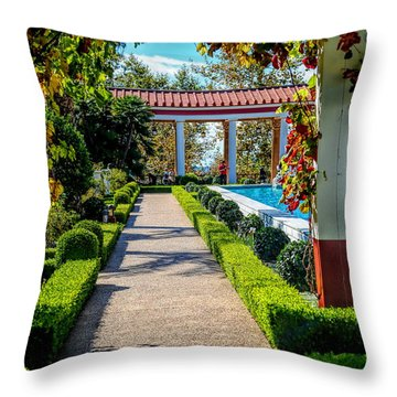 Hd Getty Pathway Villa California  Throw Pillow