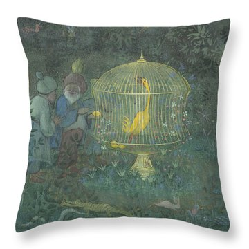 Throw Pillow featuring the drawing he Golden Bird of the Caliph by Ivar Arosenius