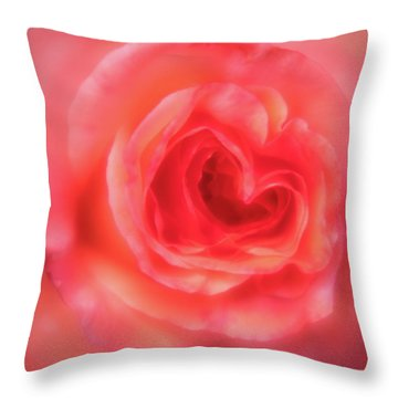 Throw Pillow featuring the photograph Heart Of The Rose by Mary Jo Allen