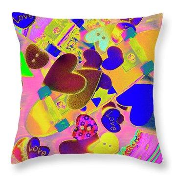 Heart Stack - Fallen For Sk8 Throw Pillow