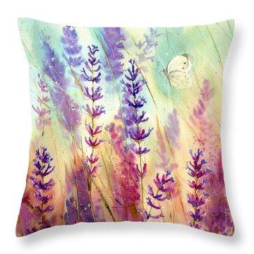 Heathers In Haze Throw Pillow