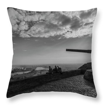 Throw Pillow featuring the photograph Heavy Weapons And A Light Lunch by Alex Lapidus