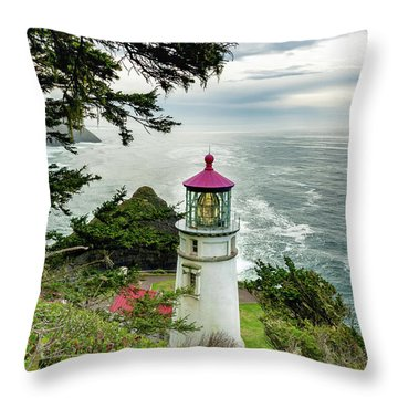 Throw Pillow featuring the photograph Heceta Head 2018 Lighthouse 2 by Lara Ellis