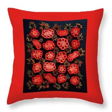 Heirloom Tomato Grid Throw Pillow