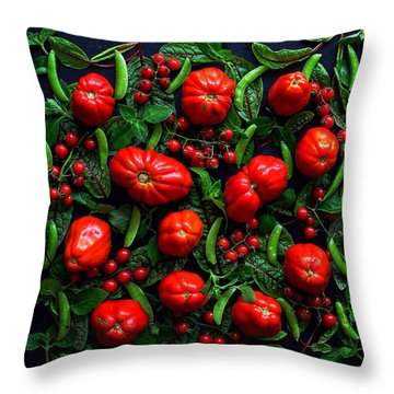 Heirloom Tomatoes And Peas Throw Pillow