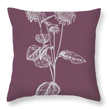 Helianthus Purple Flower Throw Pillow