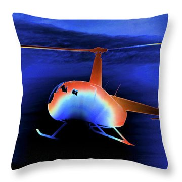 Helicopter And Blue Sky Throw Pillow