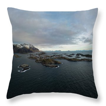 Henningsvaer Lofoten Throw Pillow