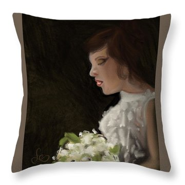 Throw Pillow featuring the painting Her Big Day by Fe Jones