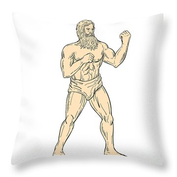Hercules In Boxer Fighting Stance Drawing Color Throw Pillow