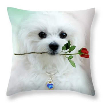 Hermes And Rose Throw Pillow