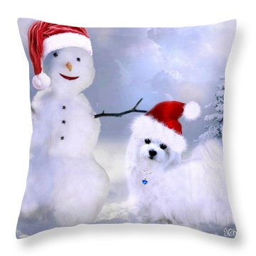 Hermes And Snowman Throw Pillow