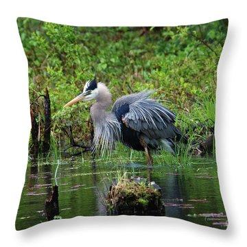 Heron In Beaver Pond Throw Pillow