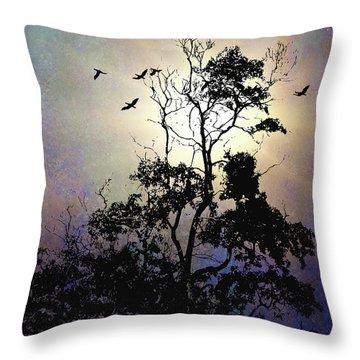 Herons At Dusk Throw Pillow