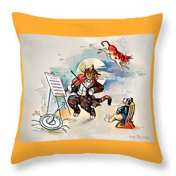 Throw Pillow featuring the digital art Hey Diddle Diddle by Pennie McCracken