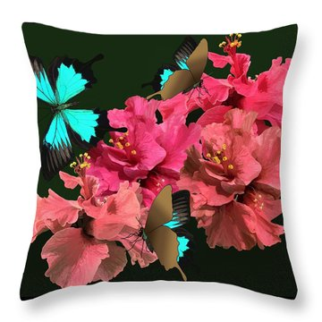 Hibiscus Butterfly Joy Throw Pillow